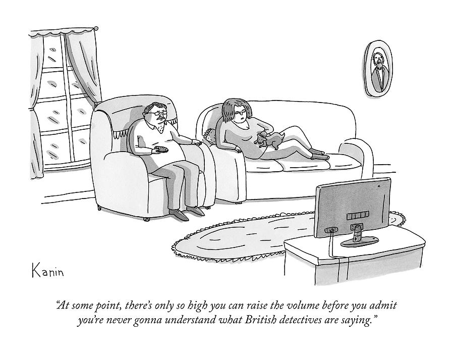 A Husband And Wife Watch Television Drawing by Zachary Kanin