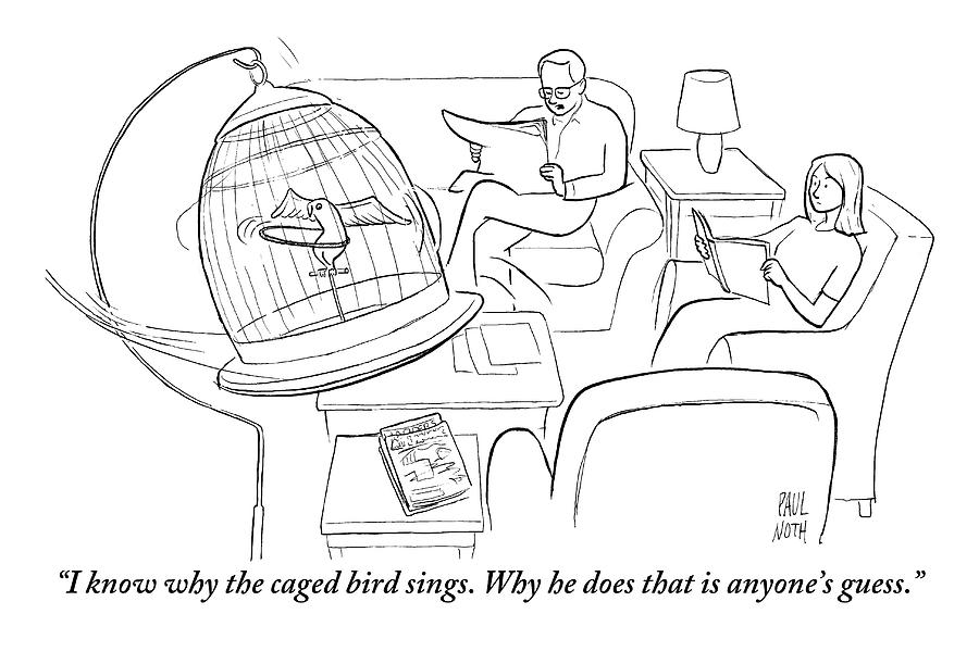 A Husband Speaks To His Wife. Their Bird Is Drawing by Paul Noth