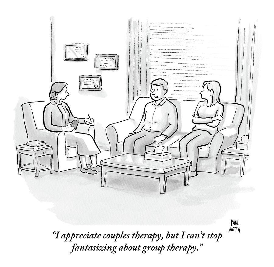 A Husband Talks To His Therapist Drawing by Paul Noth