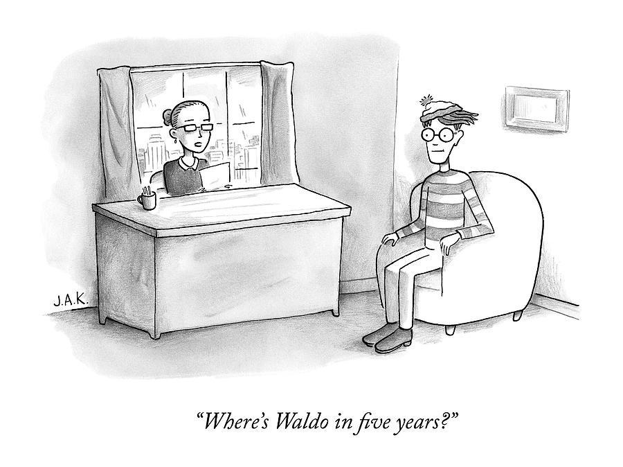 A Job Interviewer Asks Waldo Drawing by Jason Adam Katzenstein
