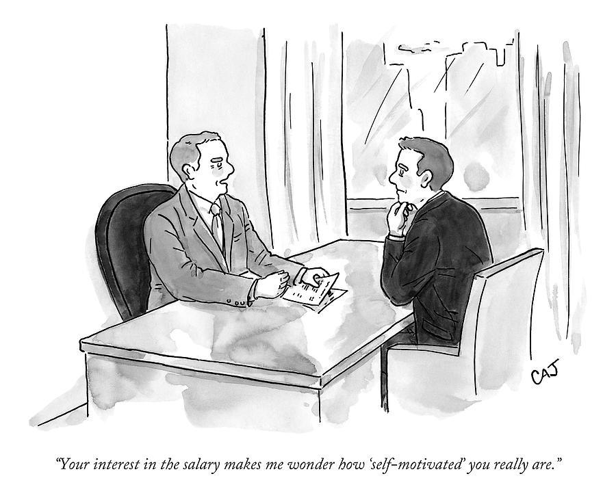 A Job Interviewer Scolds An Interviewee Drawing by Carolita Johnson