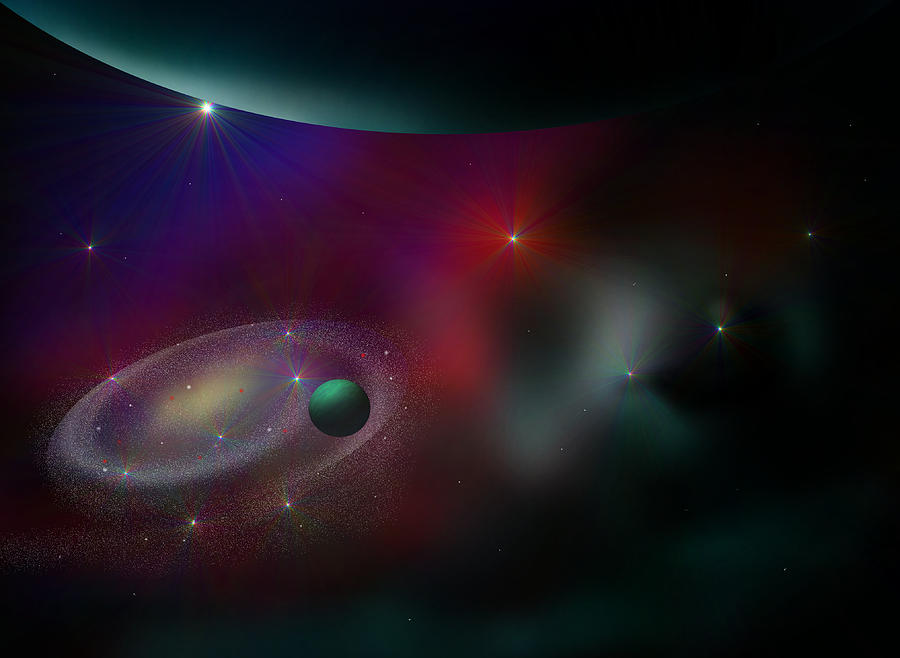 Planets Digital Art - A Journey Through Time by Ricky Haug