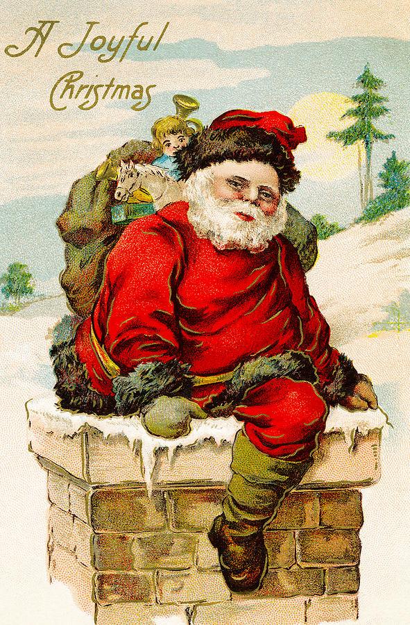 Christmas Digital Art - A Joyful Christmas by Vintage Christmas Card