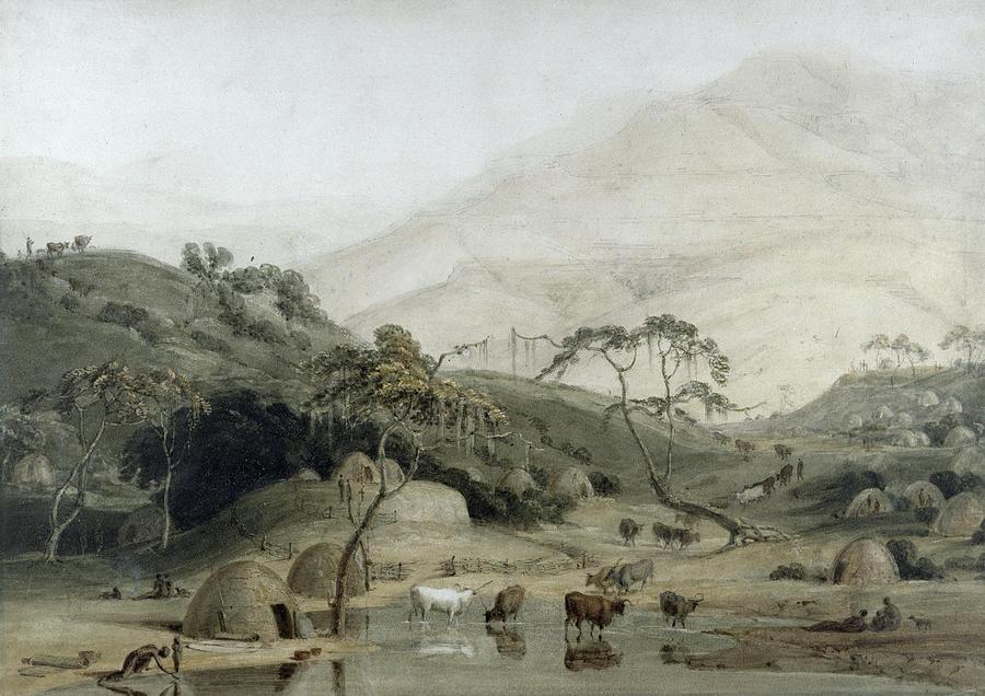 South African Photograph - A Kaffir Village, C.1801 Wc & Graphite On Paper by Samuel Daniell