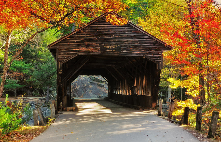 Covered Bridge Photograph - A Kancamagus Gem - Albany Covered Bridge Nh by Thomas Schoeller
