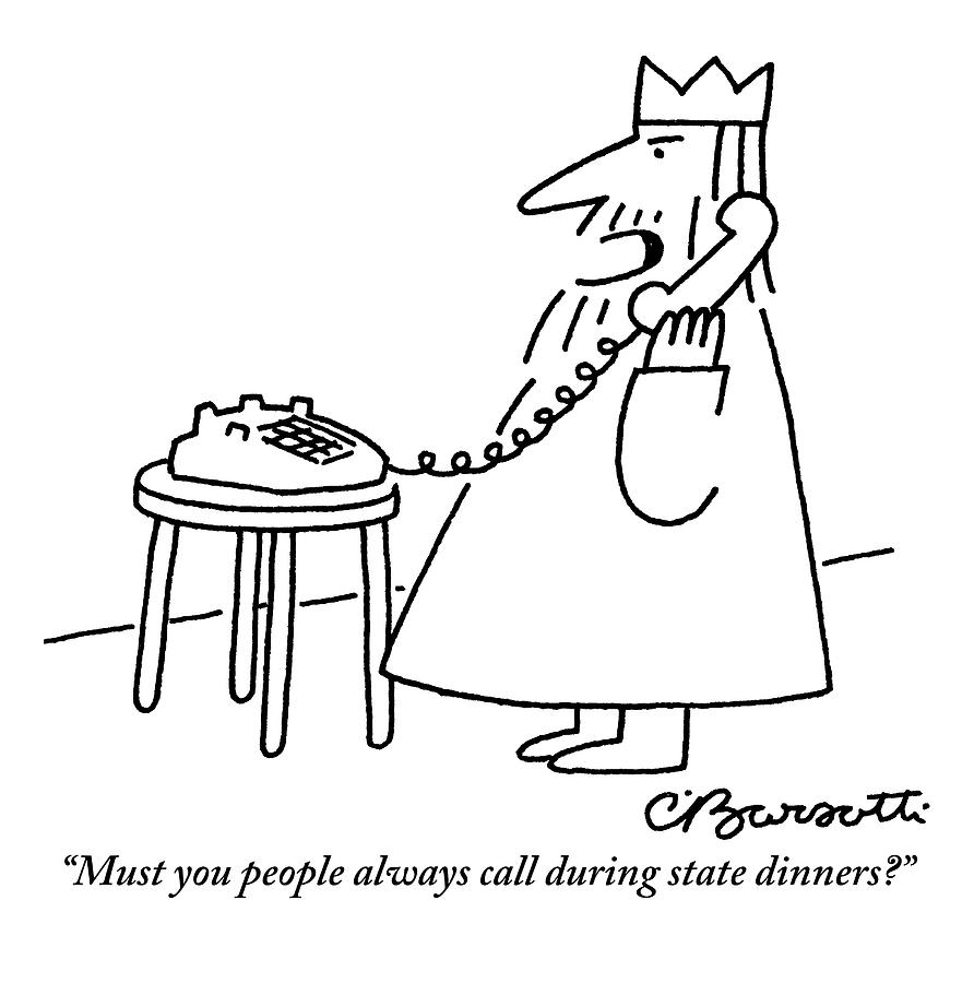 a king is seen answering his telephone by charles barsotti