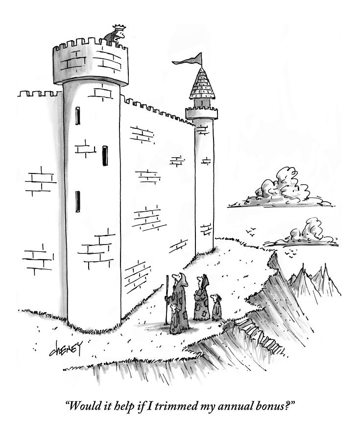 A King Looks Over The Parapet Of His Castle Drawing by Tom Cheney