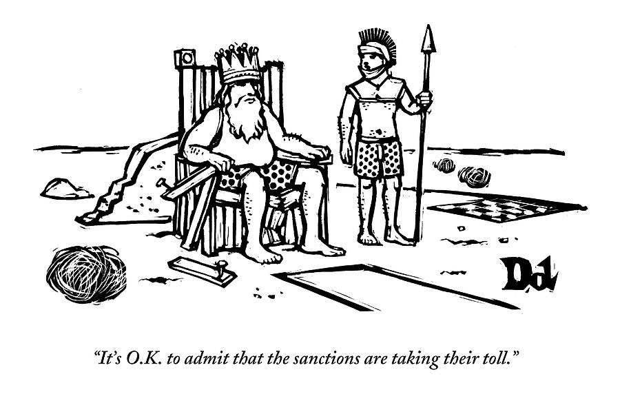 A King Sits Outside In His Boxers On A Wooden Drawing by Drew Dernavich