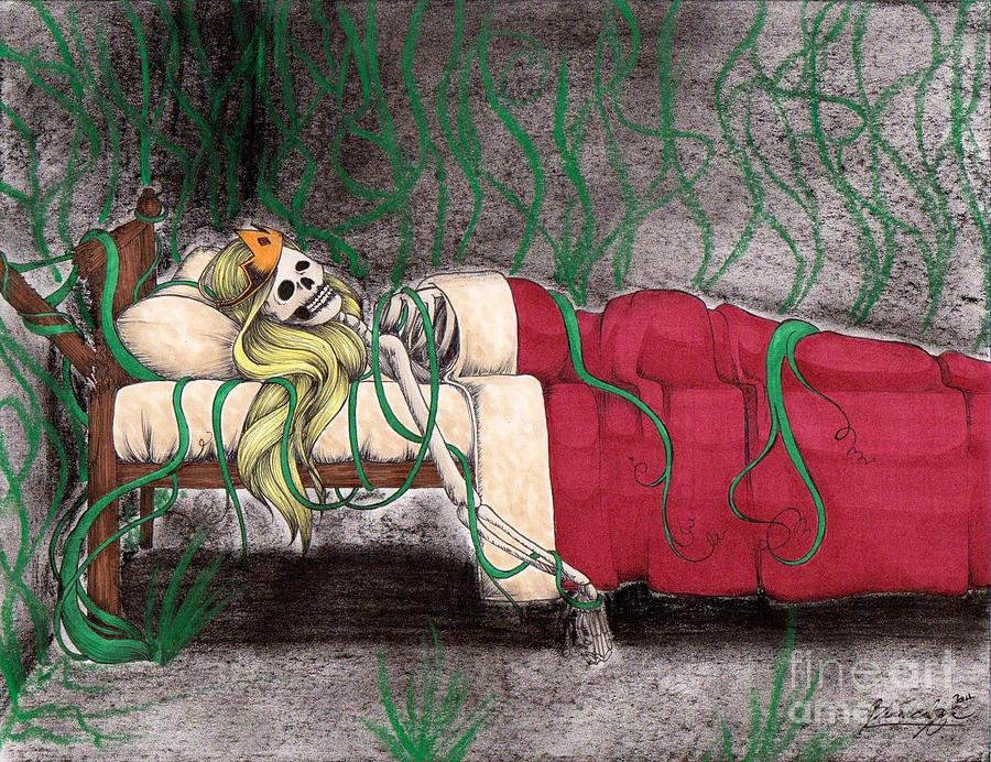 Sleeping Beauty Drawing - A Kiss That Never Came by Bibo