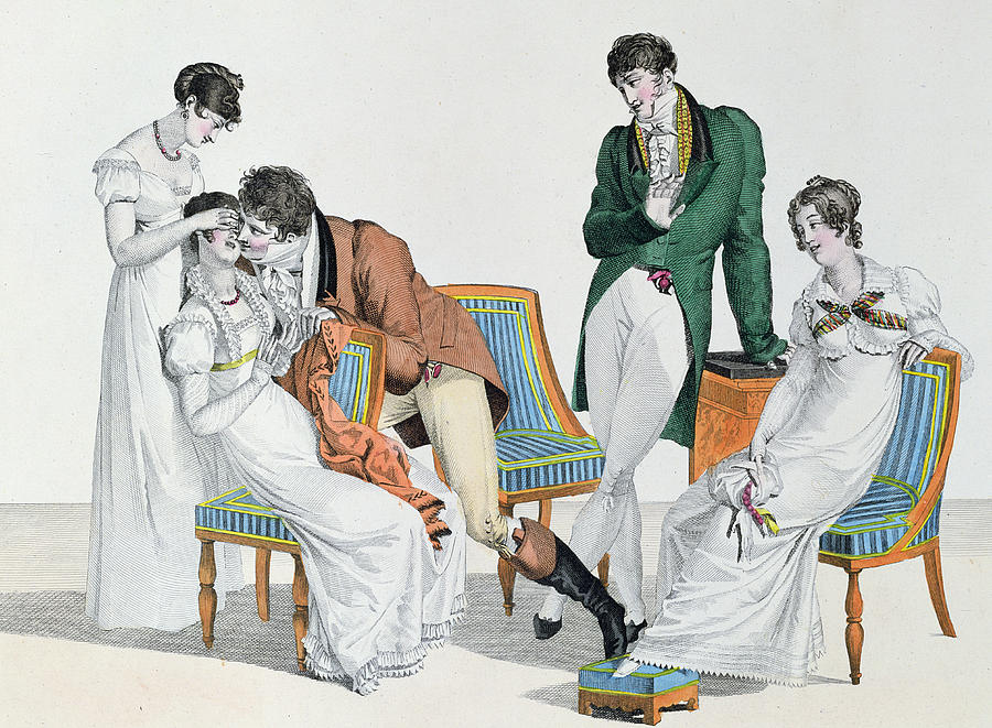 Male Drawing - A Kissing Game by French School