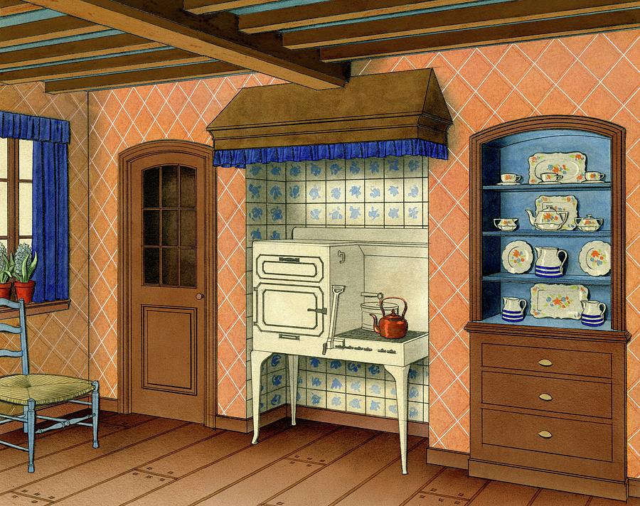 A Kitchen With An Old Fashioned Oven And Stovetop Digital Art By Allen  Saalburg