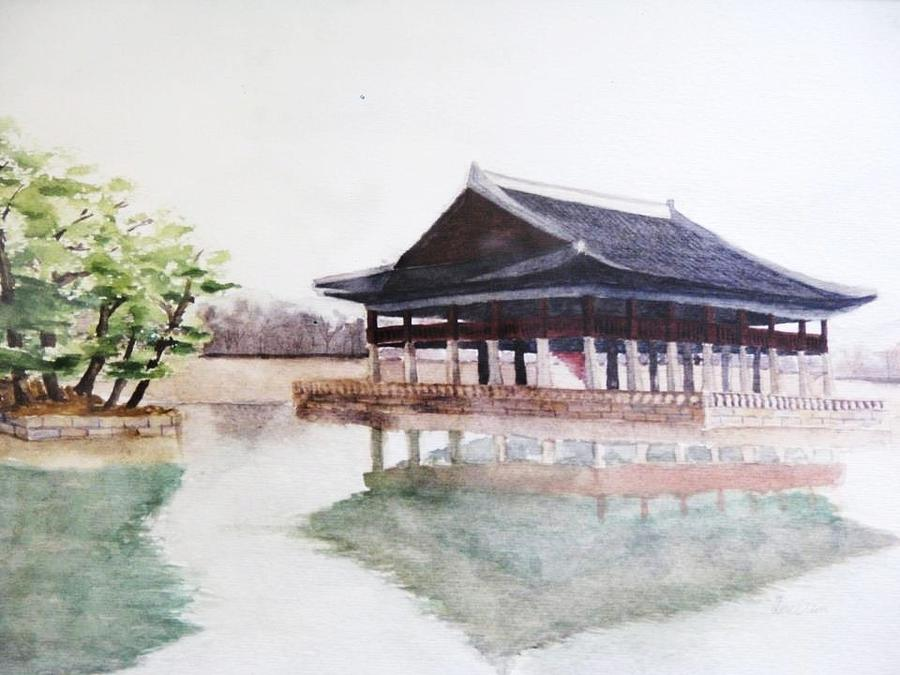 A Korean Traditional Building Painting by Dael Um