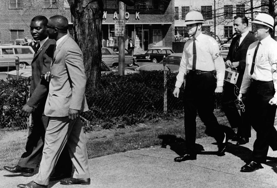History Photograph - A Ku Klux Klan Security Patrol Walk by Everett