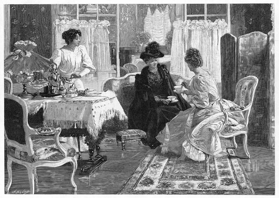 Ladies Drawing - A Lady Entertains A  Visitor by Mary Evans Picture Library