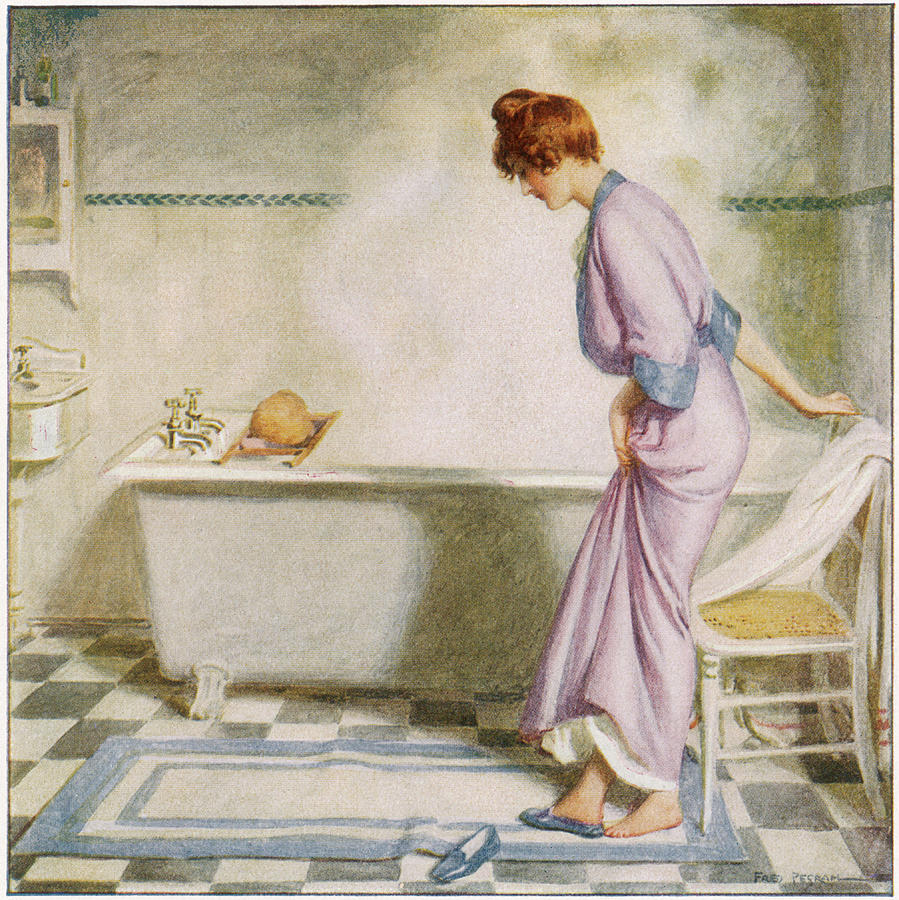 A Lady In A Dressing Gown Kicks Drawing by Mary Evans Picture Library