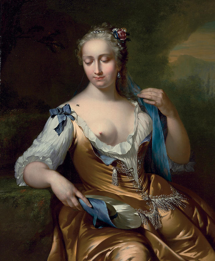A Lady In A Landscape With A Fly On Her Shoulder Painting - A Lady In A Landscape With A Fly On Her Shoulder by Frans van der Mijn