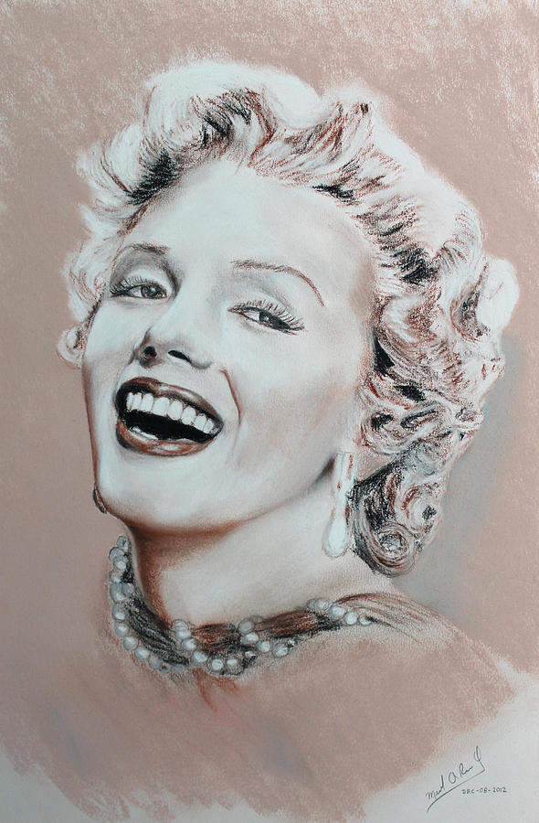 Marilyn Monroe Drawing - A Lady In Pink by Miguel Rodriguez