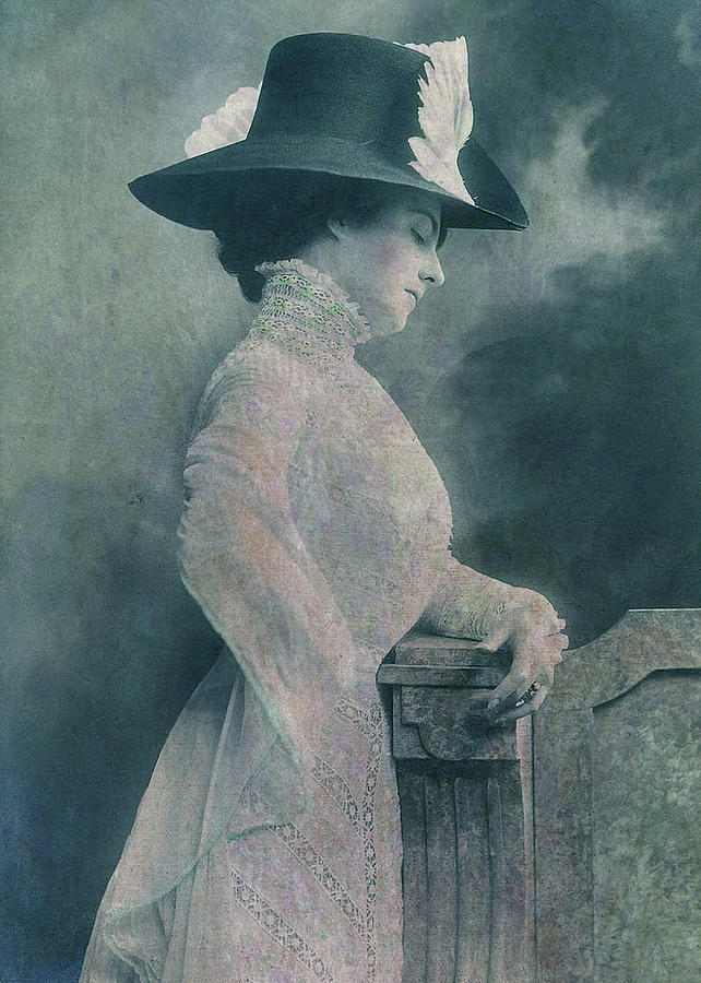 Edwardian Digital Art - A Lady Ponders by Sarah Vernon