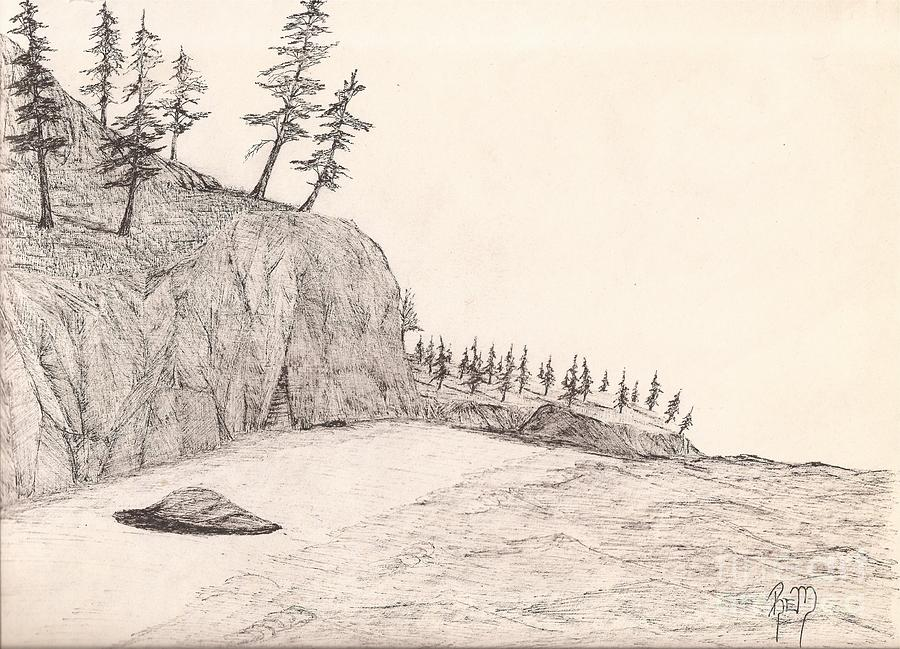 Pen And Ink Drawing - A Lakeshore... Sketch by Robert Meszaros