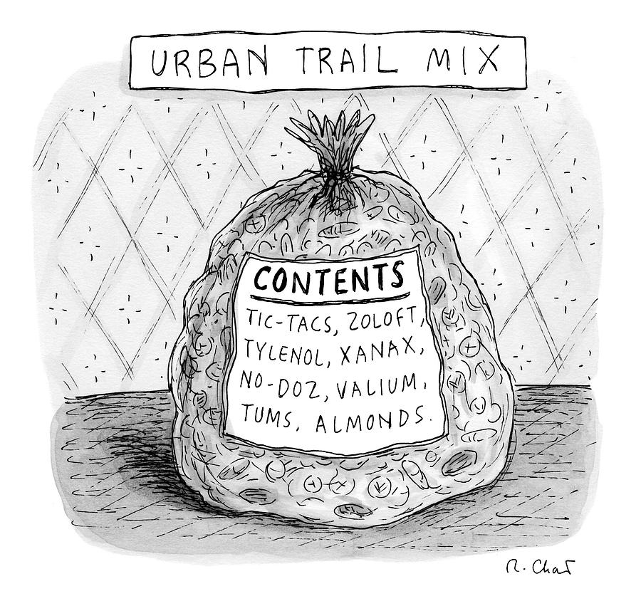 A Large Bag Is Centered In This Picture Drawing by Roz Chast