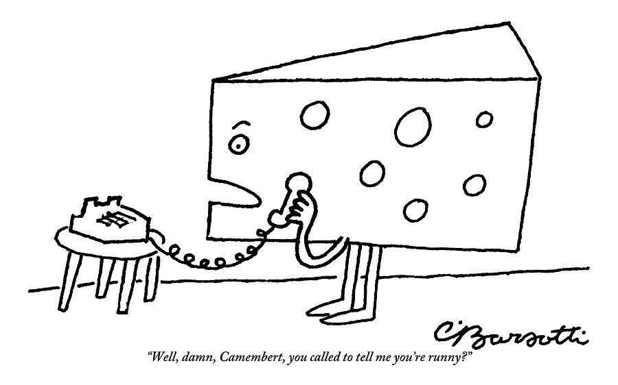 A Large Piece Of Swiss Cheese Talks Drawing by Charles Barsotti