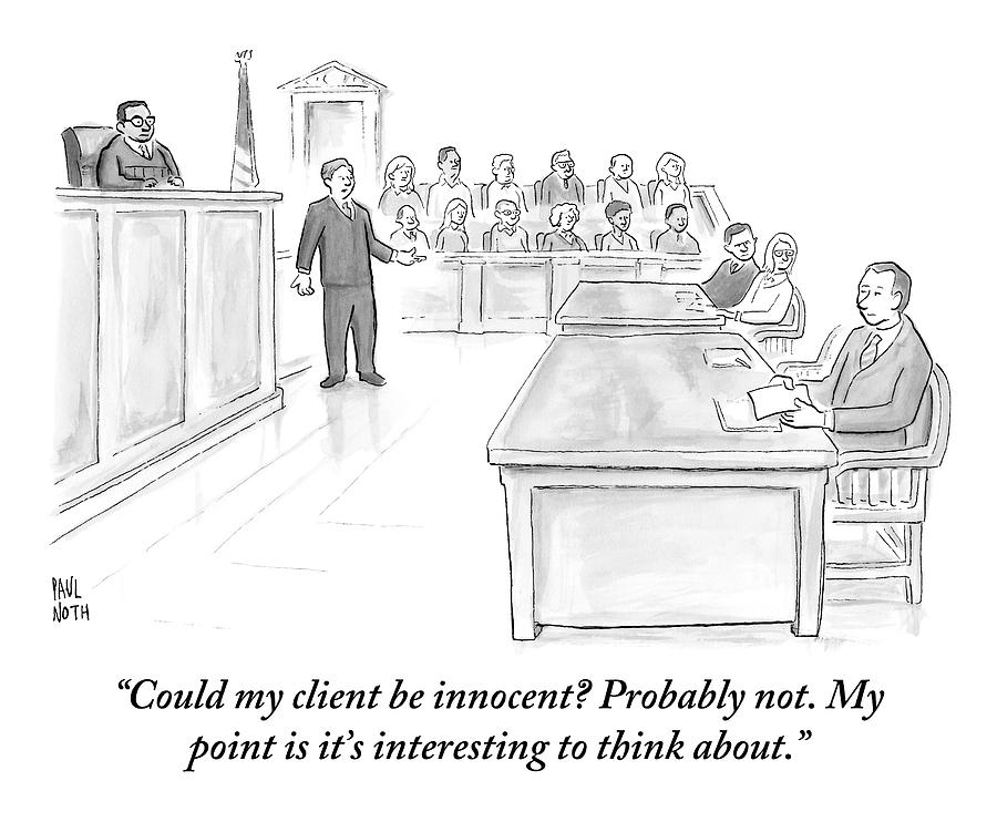 Lawyers Drawing - A Lawyer Makes His Case In Front Of A Jury by Paul Noth