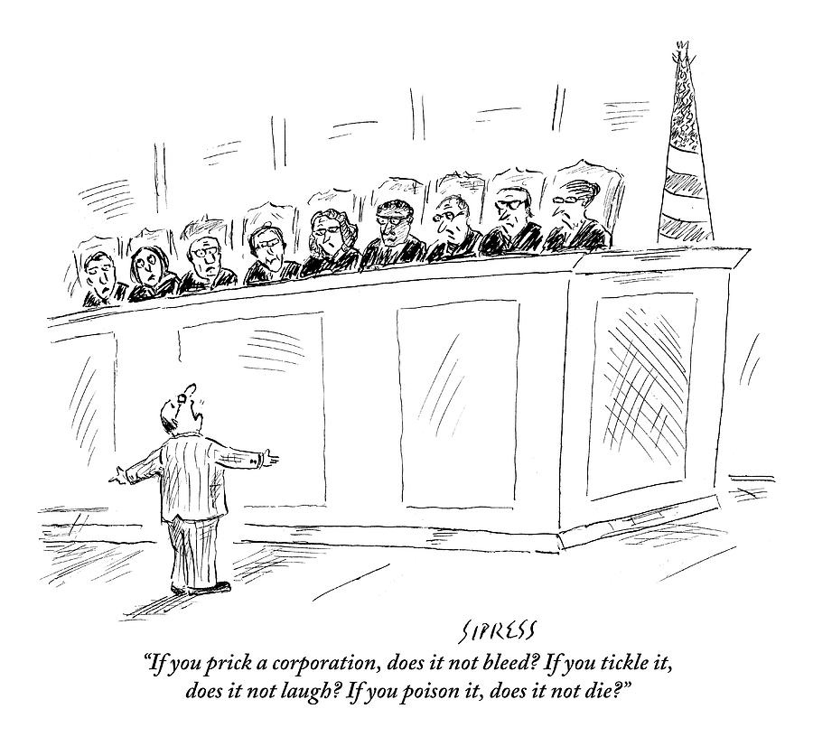 A Lawyer Representing A Corporation Standing Drawing by David Sipress