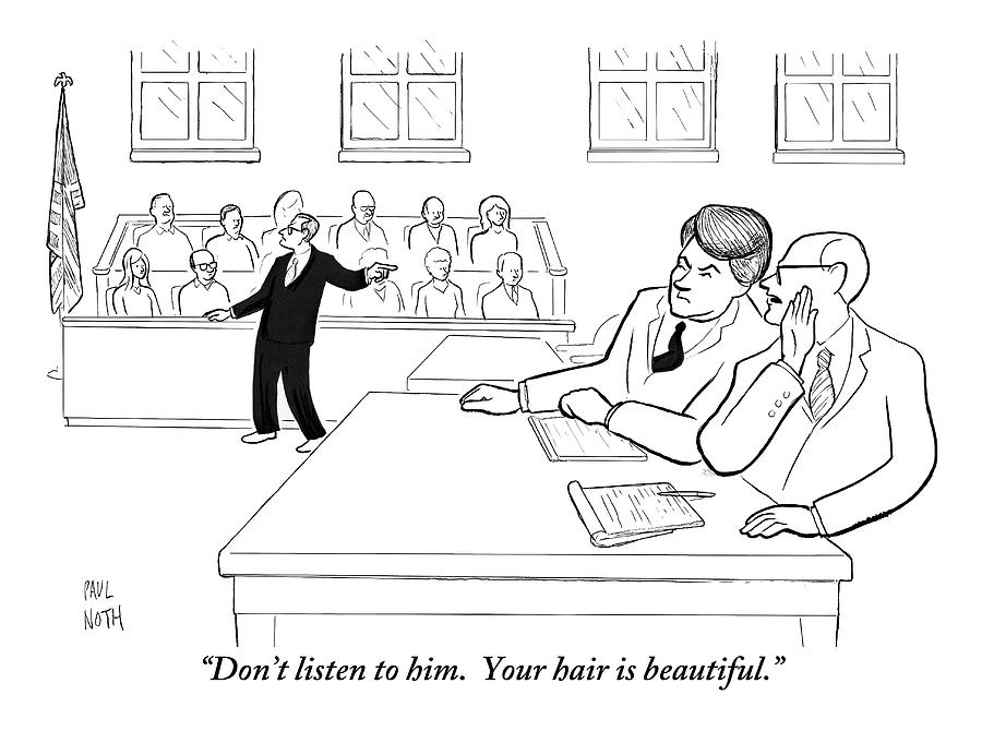 A Lawyer To His Client During His Trial Drawing by Paul Noth