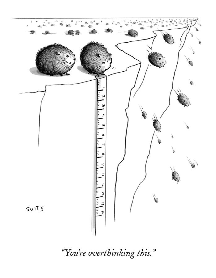 A Lemming Measures The Drop Off Of A Cliff Drawing by Julia Suits