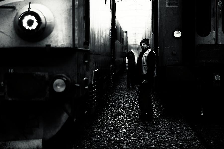 Men Photograph - A Life Between Trains by Julien Oncete