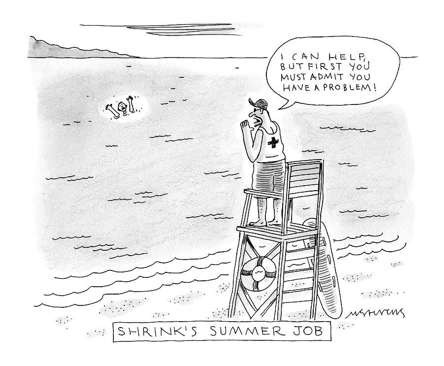A Lifeguard Shouts At A Drowning Man Drawing by Mick Stevens