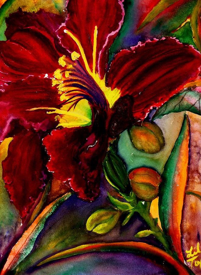 Day Lily Painting - A Lily A Day by Lil Taylor