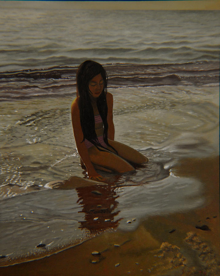 Beach Painting - A Line Between Ocean And Sand by Thu Nguyen