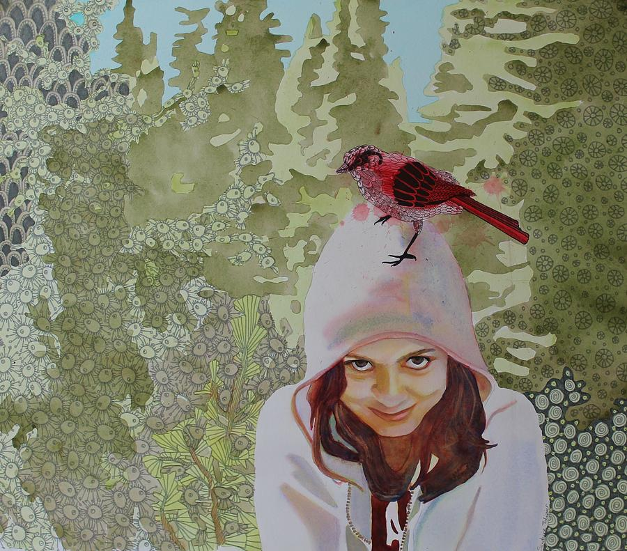 Girl Painting - A Little Birdie Told Me by Sandrine Pelissier