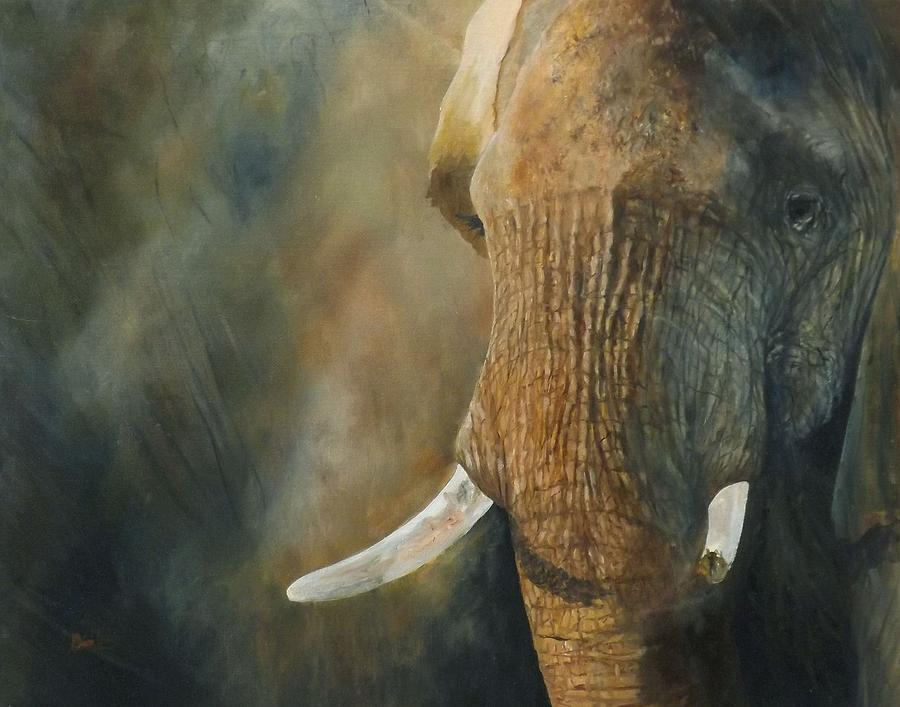Elephant Painting - A Little Bit Missing by Barry BLAKE