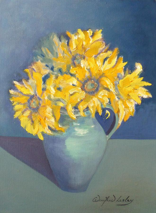 Sunflowers Painting - A Little Bit Of Sunshine  by Winifred Lesley