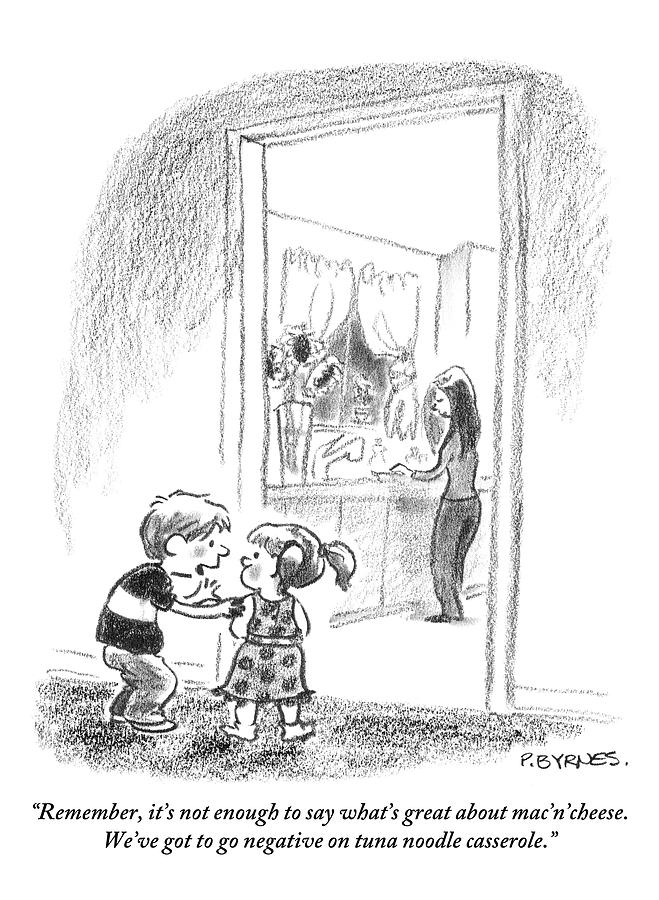 A Little Boy Speaks To A Little Girl Drawing by Pat Byrnes
