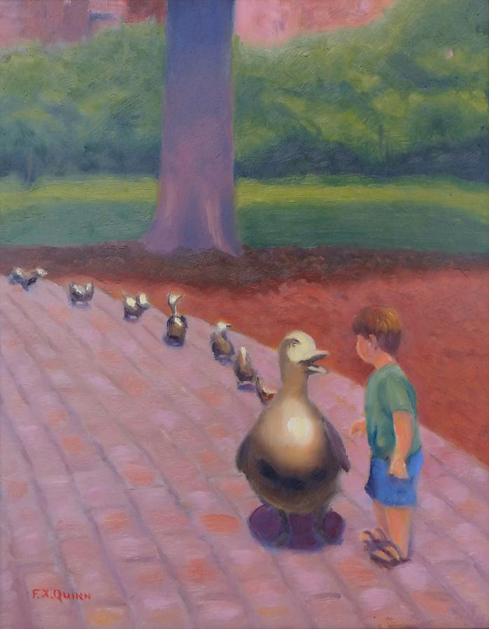 Ducklings Painting - A Little Conversation by Frank Quinn