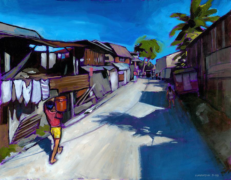Landscape Painting - A Little Street In Cebu by Douglas Simonson