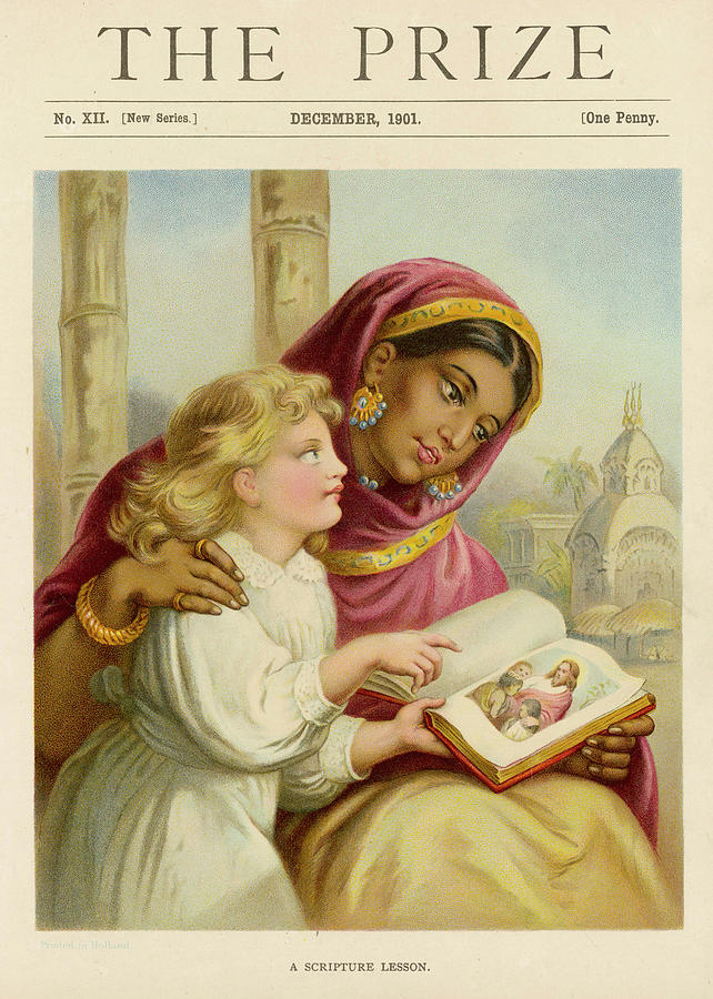 Concept Drawing - A Little White Girl Teaches An  Asian by Mary Evans Picture Library