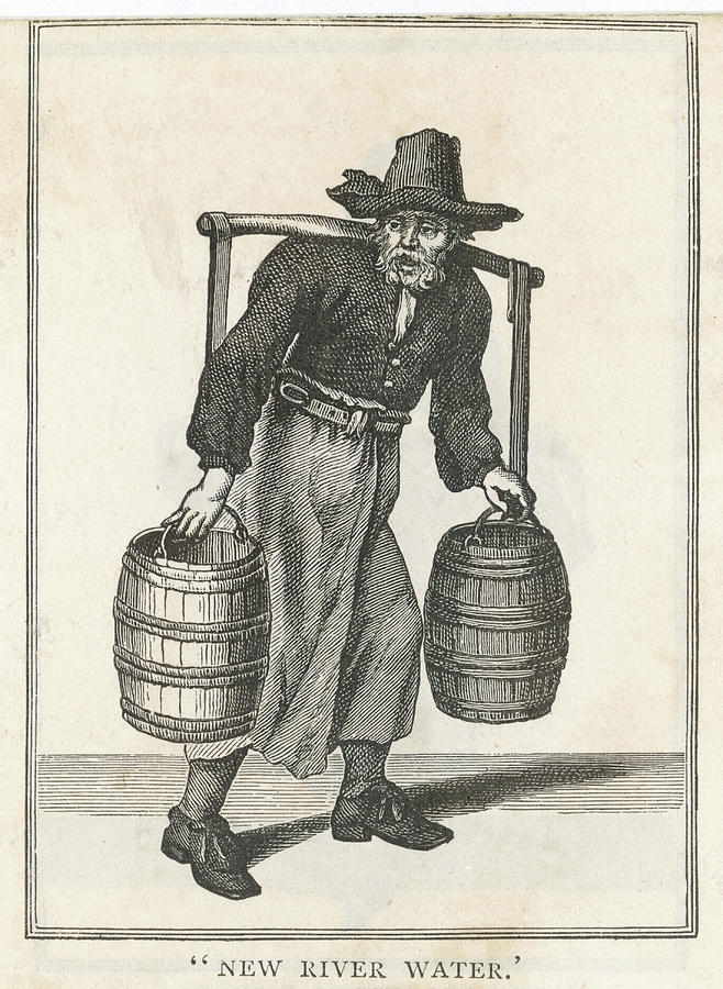 New Drawing - A London Water Carrier With Two Barrels by Mary Evans Picture Library
