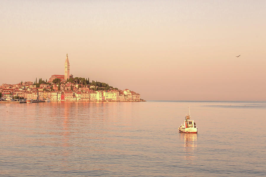 A Lone Boat In Front Of Rovinj, Croatia Photograph by Tu Xa Ha Noi