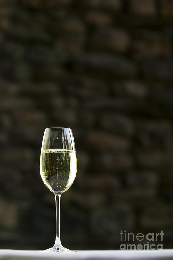 A Lone Glass Of White Wine. Photograph