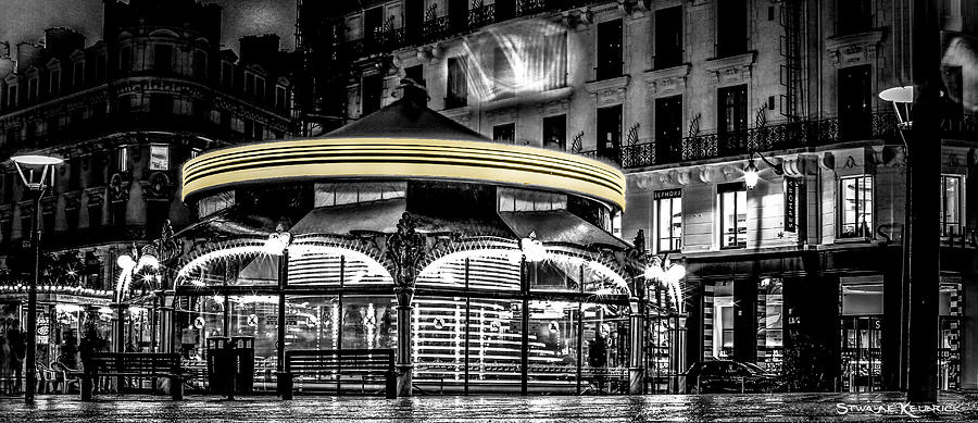 Black And White Photograph - A Long Exposure on a french carousel by Stwayne Keubrick
