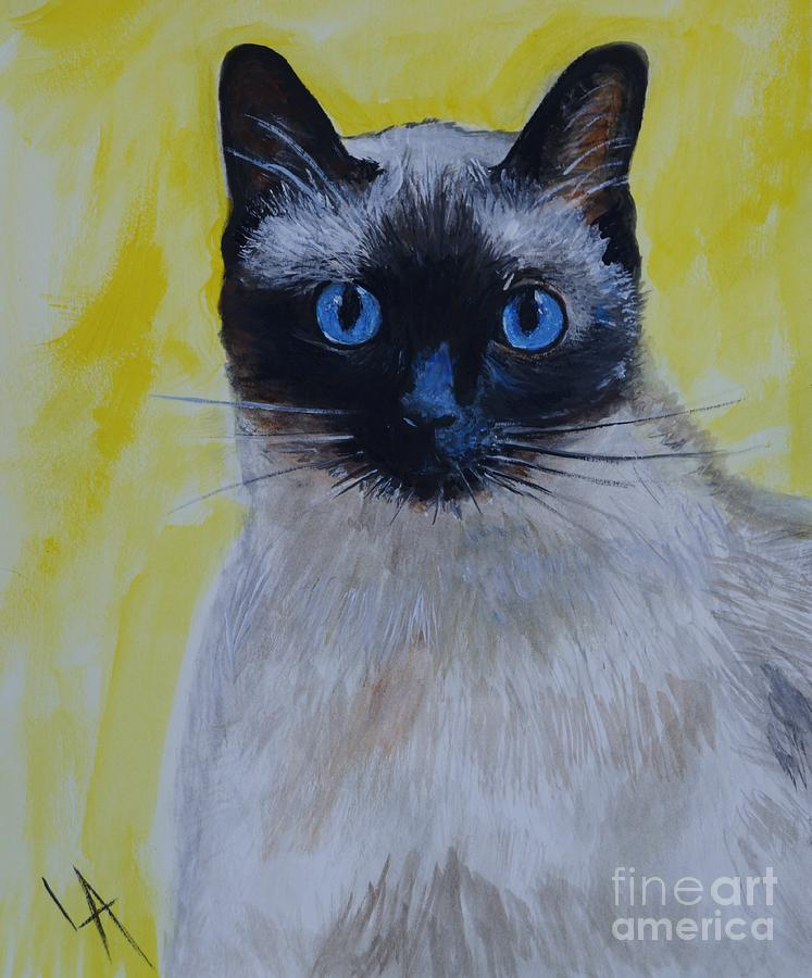 Siamese Painting - A Loving Siamese by Leslie Allen