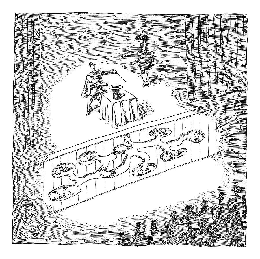 A Magician Is Seen On Stage Drawing by John OBrien