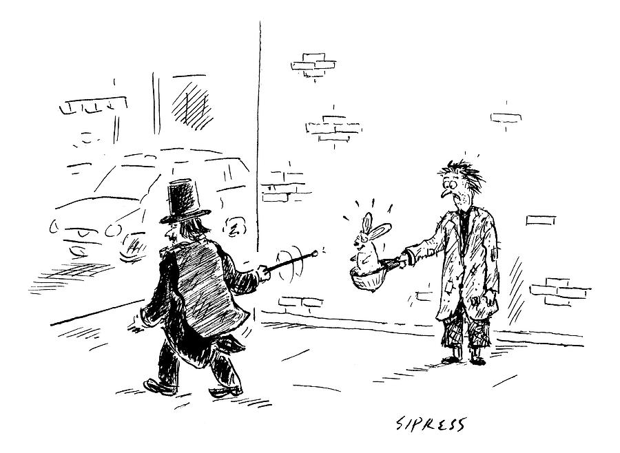 A Magician Points His Wand At A Beggars Hat Drawing by David Sipress