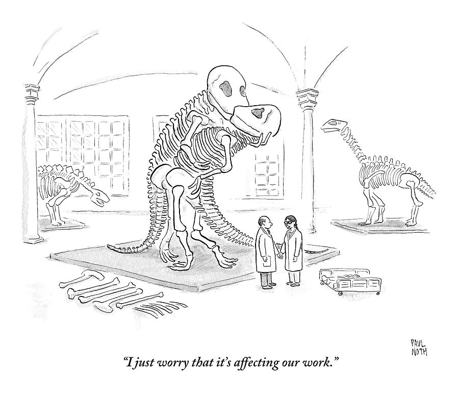 A Male And Female Paleontologist Drawing by Paul Noth