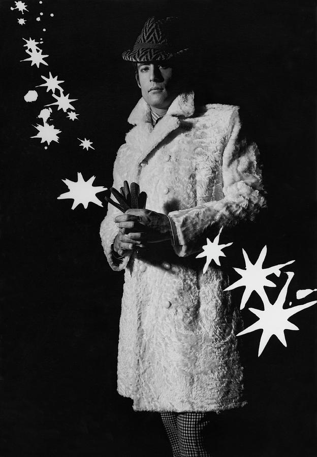 A Male Model In A Flat Moire-textured Pelt Coat Photograph by Richard Steedman