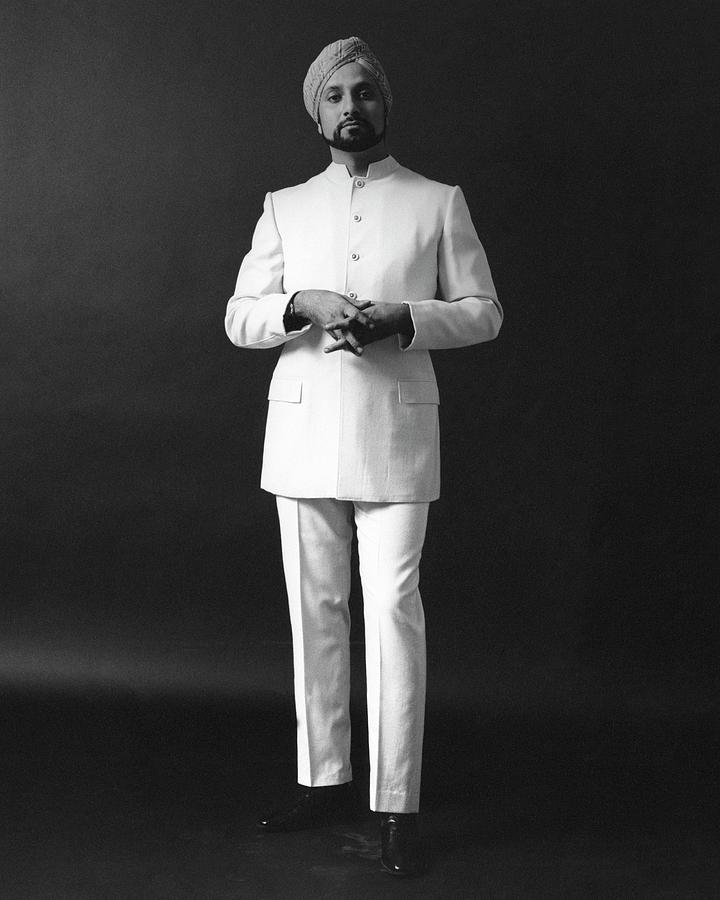 A Male Model Wearing A Custom-tailored Gaberdine Photograph by Leonard Nones